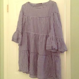 Tiered Gingham Mini Dress by Zara